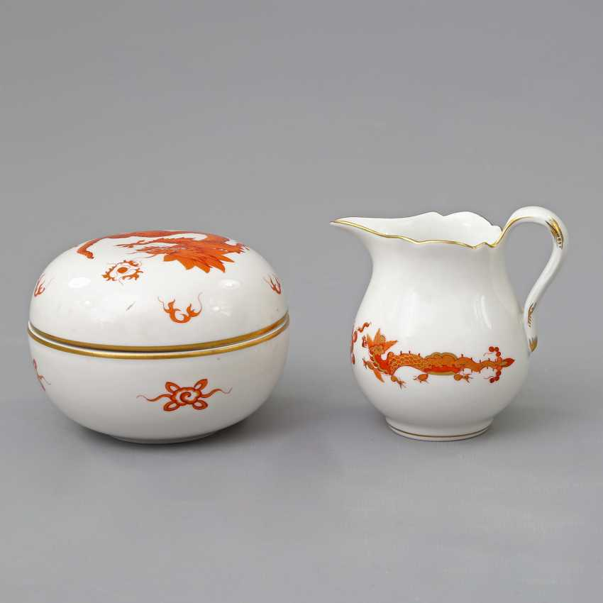 MEISSEN cream jug and lidded box with Dragon patterns, 20. Century - photo 2