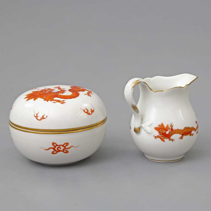 MEISSEN cream jug and lidded box with Dragon patterns, 20. Century - photo 3