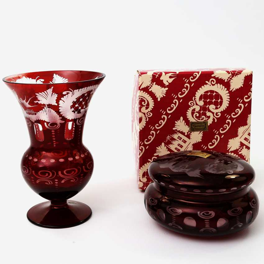 EGERMANN kidney pack 2 PCs small Vase and candy, around 1900 - photo 1