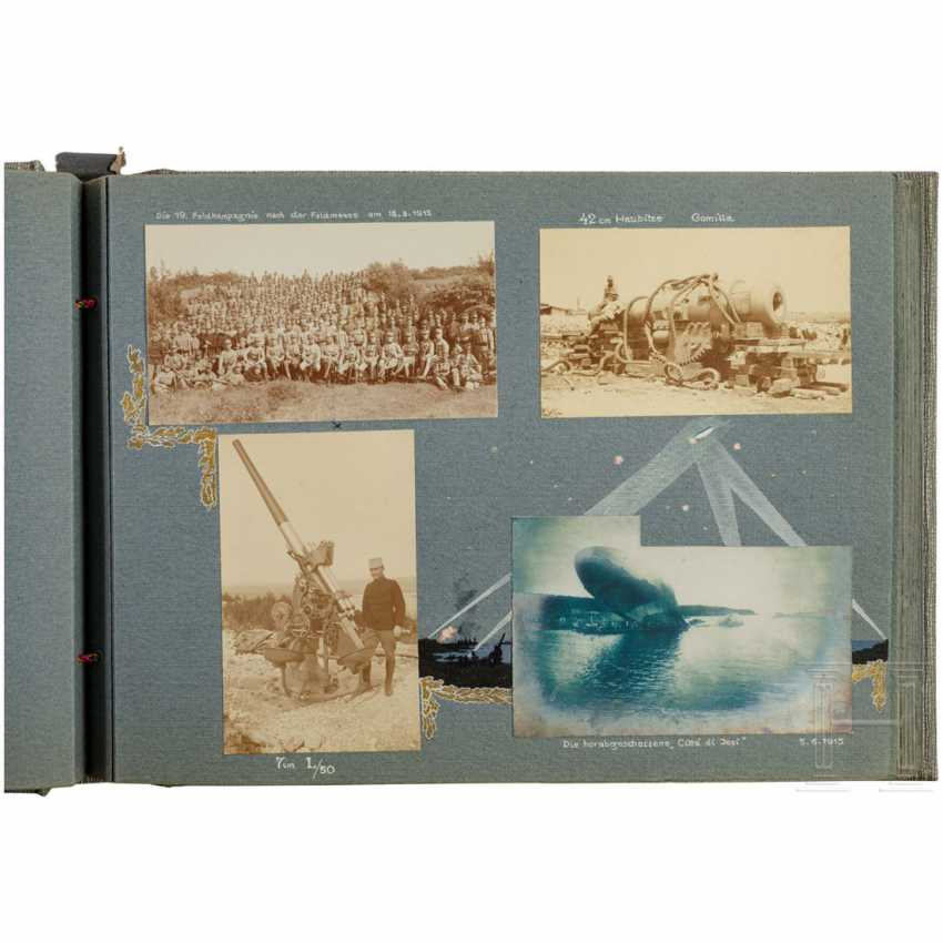 "Photo album ""Landwehr-field-haubitz-Division No. 13"" - use on the Alpine front in the 1. World war, cigarette case made of silver - photo 4"