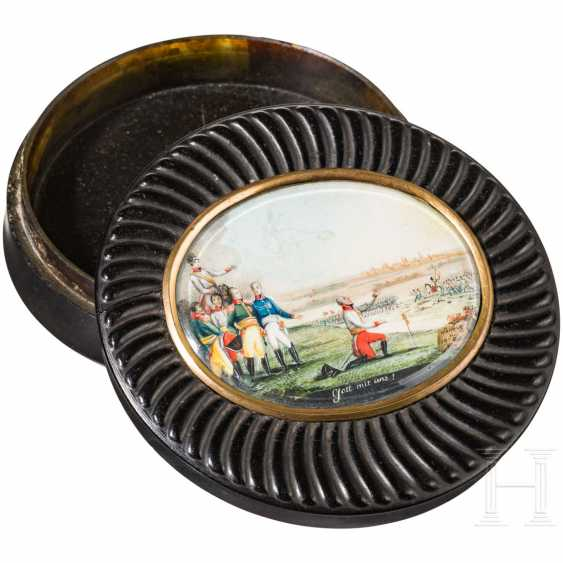 Anatomical snuffbox, with a finely painted scene of the battle of Nations at Leipzig in 1813 to 1815 - photo 1