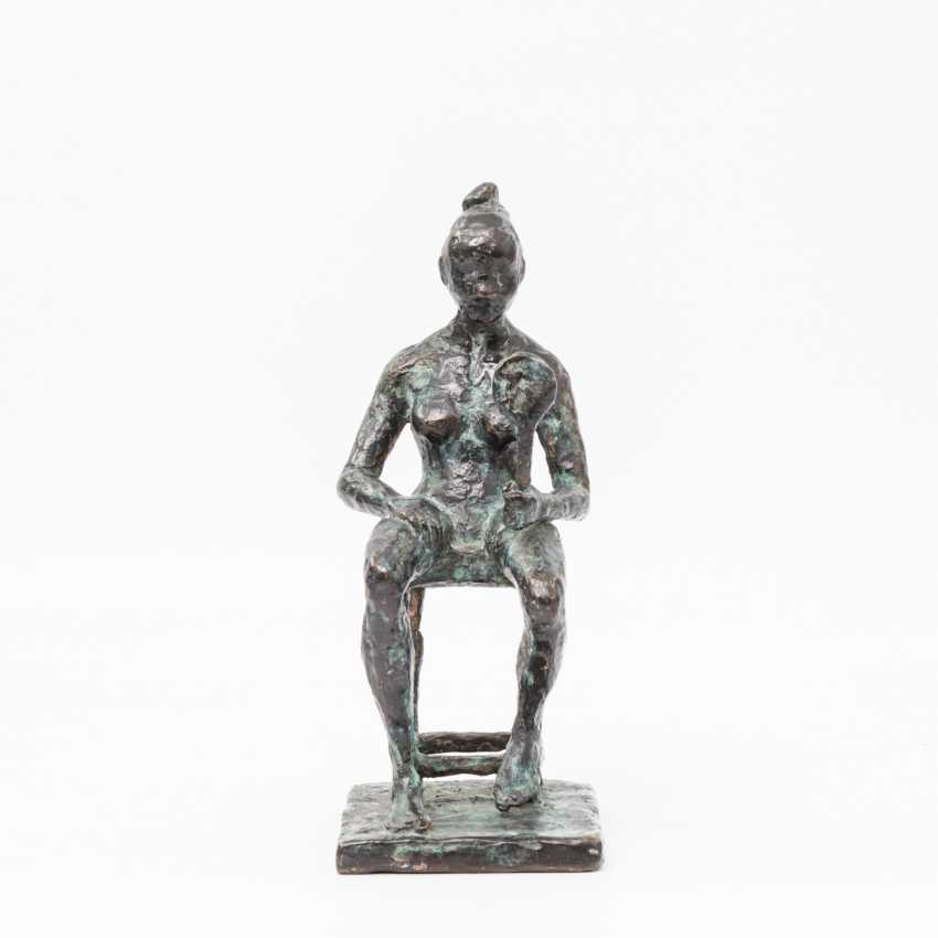 "Monogram crap MP (sculptor 20. Century; well-Lörcher-student), the Bronze ""lady with mirror"", - photo 1"