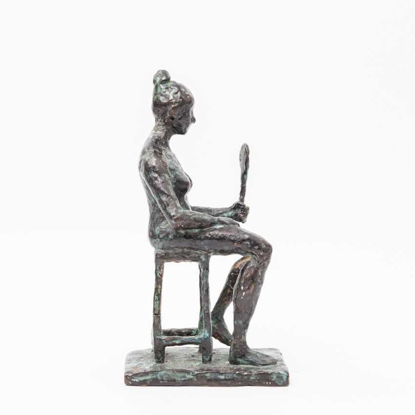 "Monogram crap MP (sculptor 20. Century; well-Lörcher-student), the Bronze ""lady with mirror"", - photo 2"
