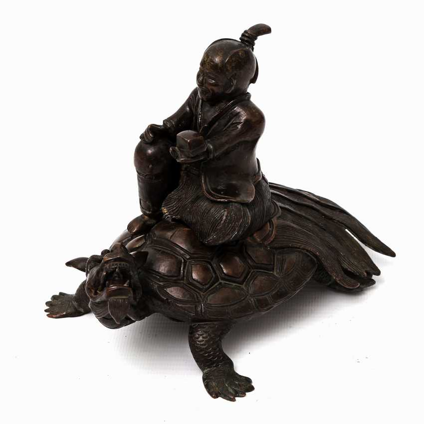 Incense burner in the Form of a scholar riding on a Minogame. ASIA, 20. Century - photo 1
