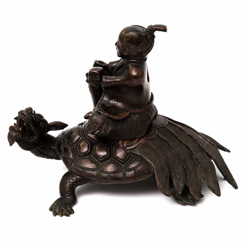 Incense burner in the Form of a scholar riding on a Minogame. ASIA, 20. Century - photo 2