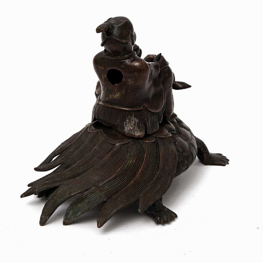Incense burner in the Form of a scholar riding on a Minogame. ASIA, 20. Century - photo 3