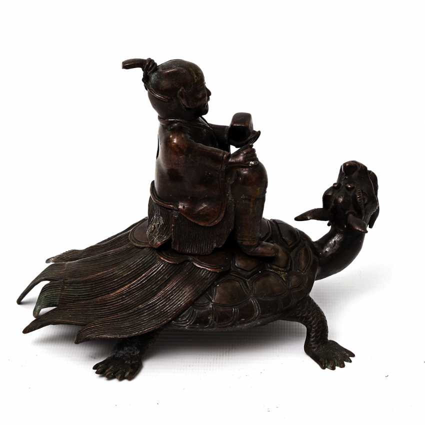 Incense burner in the Form of a scholar riding on a Minogame. ASIA, 20. Century - photo 4