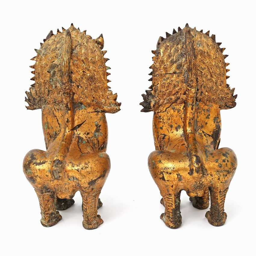Pair Of Temple Guardian Lion. INDONESIA, mid 20's. Century - photo 3