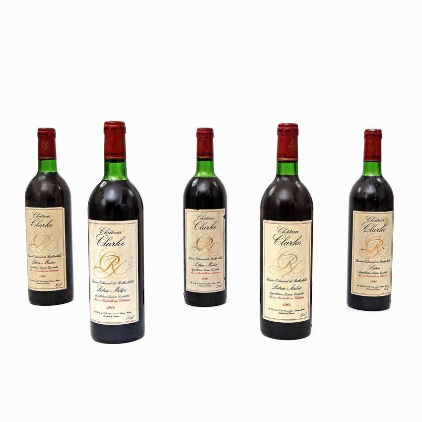 5 bottles of CHATEAU CLARKE Baron de Rothschild, 4x1980 / 1x1981 - photo 1