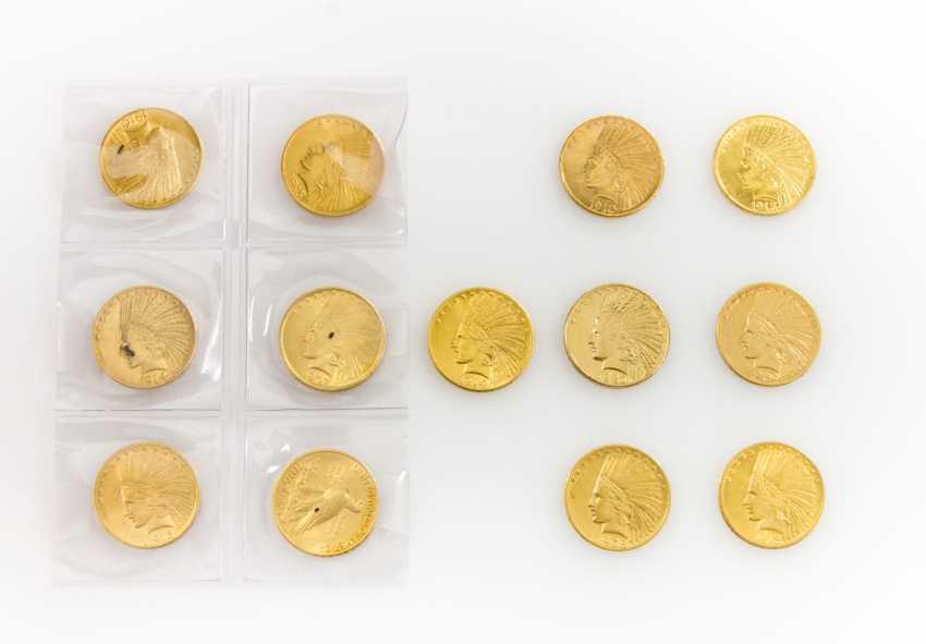 USA/GOLD - 13 x 10 Dollars Indian Head, - photo 1