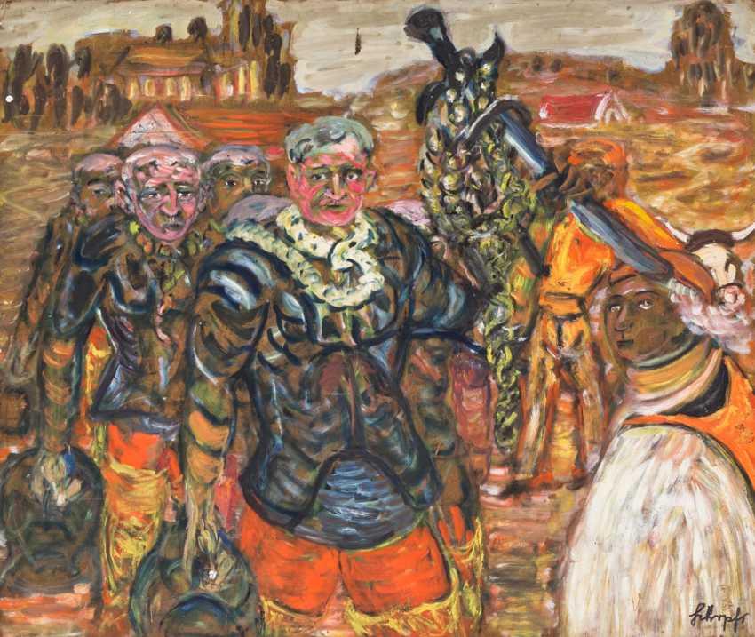 "SCHOPF, GUSTAV GEORosegold (1899-1986), ""sword-bearers with the aftermath of"", - photo 1"