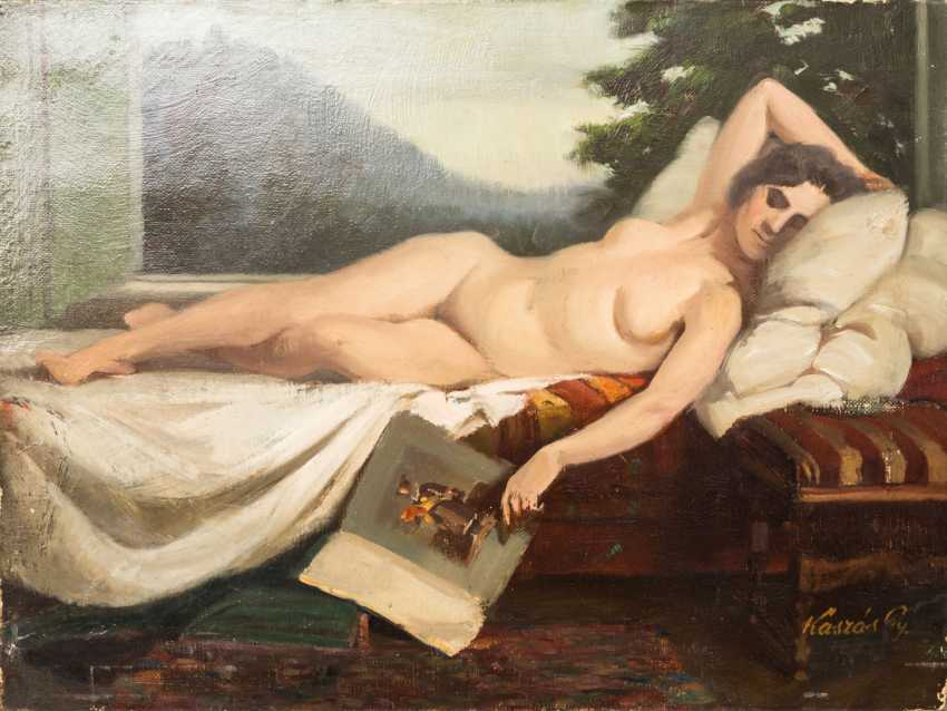 "KASZAS, Gy. (Hungarian painter 1. Half of the 20. Century), ""Sleeping Venus with book"", - photo 1"