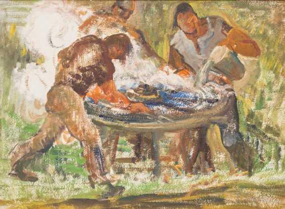 """HERGARDEN, BERNHARD (funds 1880-1966 Düsseldorf), """"Three workers at a work bench"""", - photo 1"""