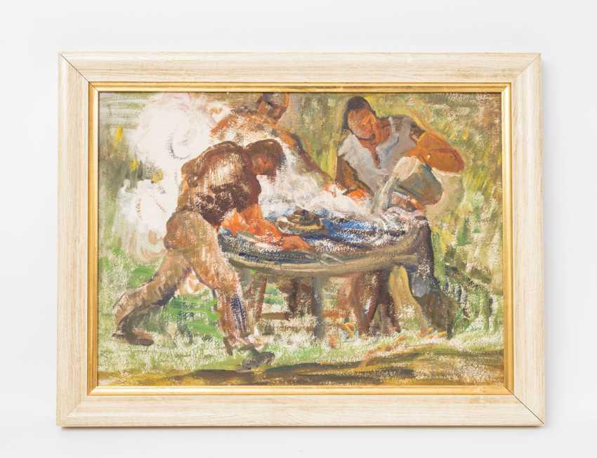 """HERGARDEN, BERNHARD (funds 1880-1966 Düsseldorf), """"Three workers at a work bench"""", - photo 2"""