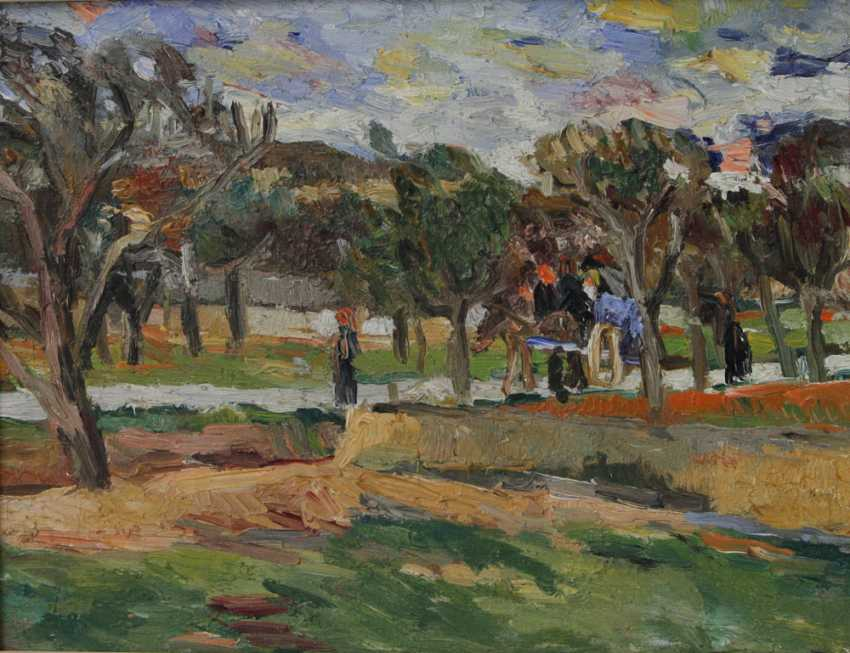 HENNINGER, MANFRED (Attrib.; 1894-1986): a view of a village street with horse and cart and figure staffage, on the island of Ibiza, 20. Century, - photo 1