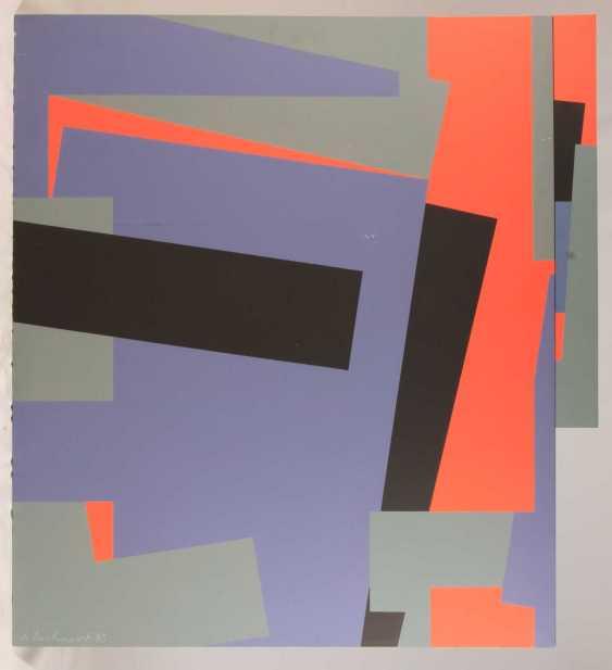 "KUHNERT, HORST (born in 1939), ""panel image red, blue, black"", - photo 1"