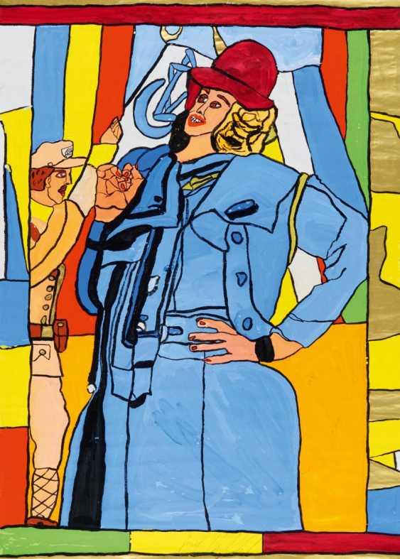 Женщина в синем пальто с Красной шапкой. Позади нее солдат с двумя флаги Фэнтези - фото 1