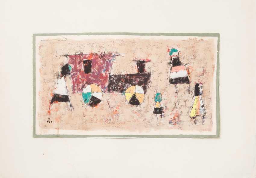 "Monogram mist (painter/in 20. Century), ""figures and locomotive"", - photo 1"