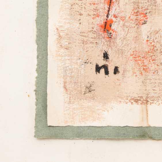"Monogram mist (painter/in 20. Century), ""figures and locomotive"", - photo 2"