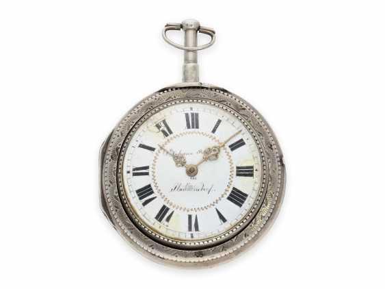 Карманные часы: исключительно крупные и редкие süddeutsche Spindeluhr с очень редкой a toc & a tact 1/8-репетир, Иоганн Riel в Stadtamhof (Regensburg), 1780-1820 - фото 1