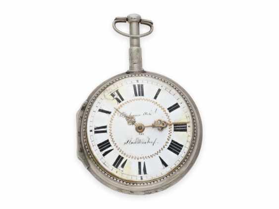 Карманные часы: исключительно крупные и редкие süddeutsche Spindeluhr с очень редкой a toc & a tact 1/8-репетир, Иоганн Riel в Stadtamhof (Regensburg), 1780-1820 - фото 2