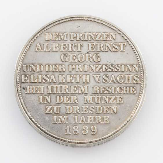 Saxony/Albertine Line - 1 Specimen-Mint Visit Thaler (Thick Piece) In 1839, - photo 2