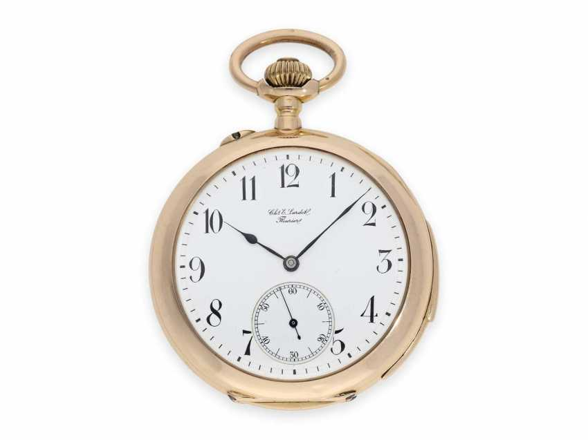 Pocket watch: large, very fine precision pocket watch with minute-repeater, 18K pink gold, C. E. Lardet Fleurier, No. 5432, calibre Le Coultre, CA. 1900 - photo 1