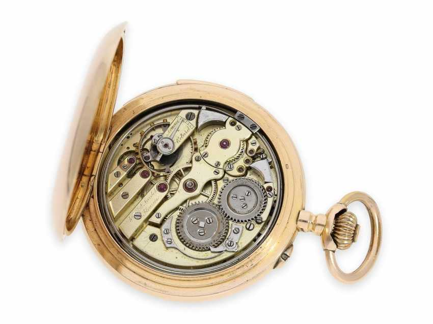 Pocket watch: large, very fine precision pocket watch with minute-repeater, 18K pink gold, C. E. Lardet Fleurier, No. 5432, calibre Le Coultre, CA. 1900 - photo 3