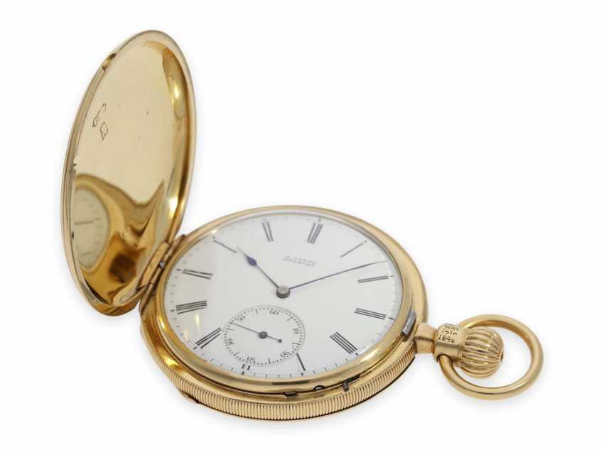 Pocket watch: very early, severe, A. Lange, Dresden gold savonnette best quality 1A, No. 7294 of 1870, with the master excerpt from the book - photo 2