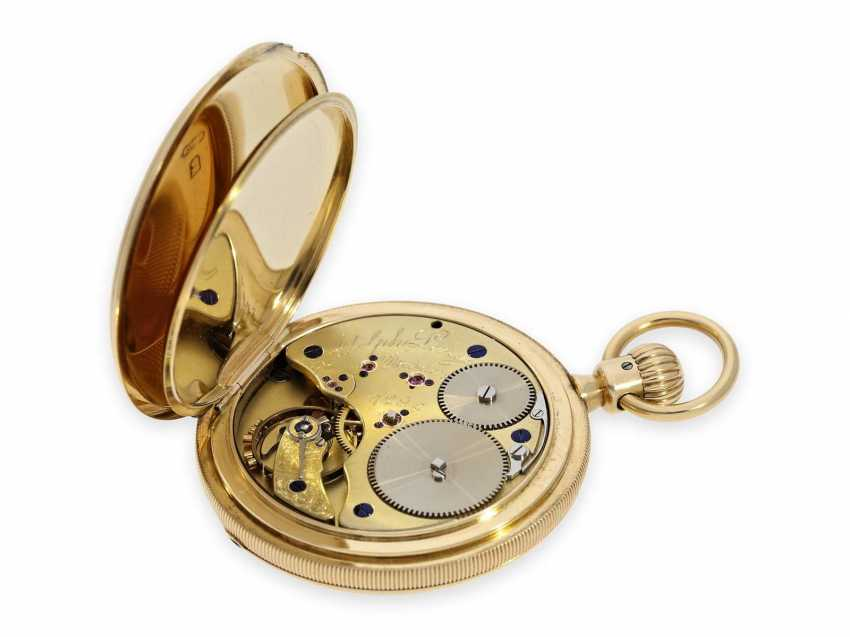 Pocket watch: very early, severe, A. Lange, Dresden gold savonnette best quality 1A, No. 7294 of 1870, with the master excerpt from the book - photo 3