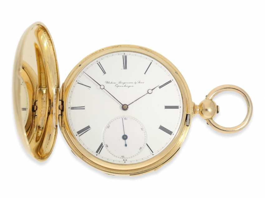 Pocket watch: rare and interesting early gold savonnette with Repetition, Urban Jürgensen & Sons, Copenhagen No. 9731, CA. 1870 - photo 1