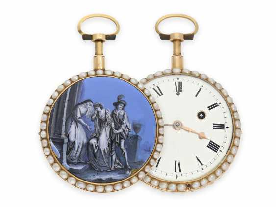 Pocket watch: extremely rare Gold/enamel Spindeluhr with Repetition, beaded trim and the finest en-grisaille-motion painting, CA. 1800 - photo 1
