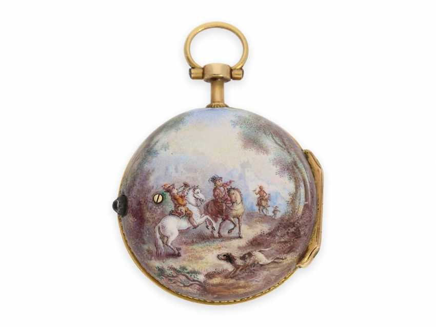 Pocket watch: extremely rare miniature Rococo Emailleuhr in the style of Meissen painting on porcelain, Louis Waltrin à Paris, No. 593, CA. 1770 - photo 1