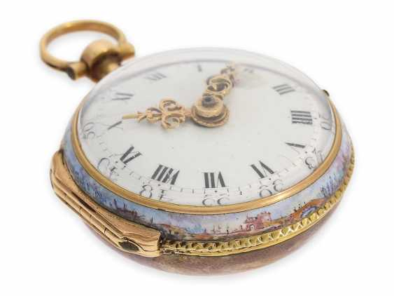 Pocket watch: extremely rare miniature Rococo Emailleuhr in the style of Meissen painting on porcelain, Louis Waltrin à Paris, No. 593, CA. 1770 - photo 4