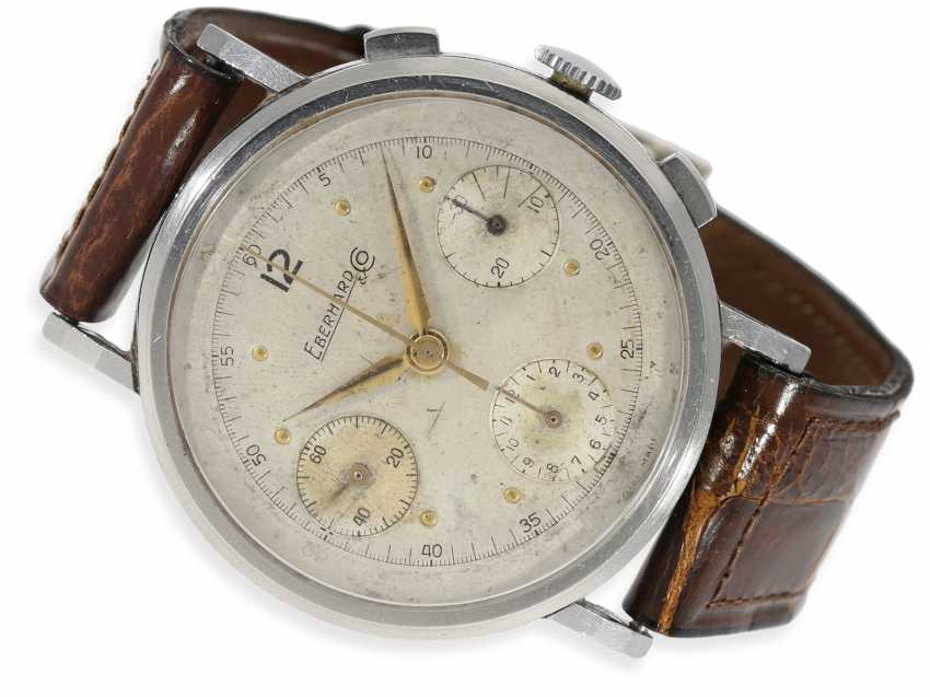 """Watch: very rare Eberhard """"oversize"""" special Chronograph in stainless steel, approx. 40mm!, CA. 1945 - photo 1"""