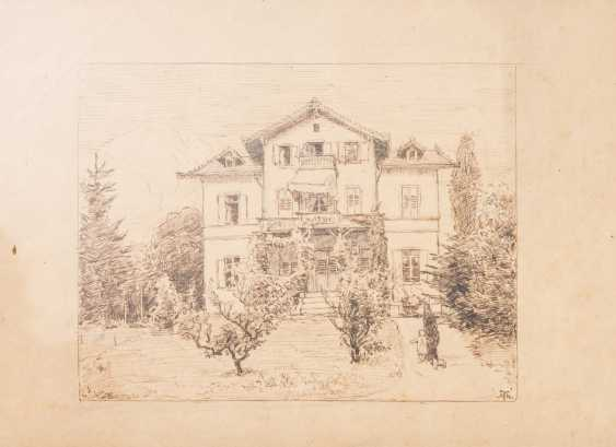 "THOMA, HANS (Bernau 1839-1924 Karlsruhe), ""Villa in the Park"", - photo 1"