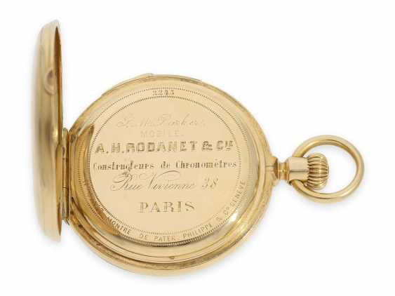 Pocket watch: very fine and early Patek Philippe, gold savonnette with quarter-hour Repetition, delivered to the chronometer-maker Rodanet in Paris, 1872 - photo 5
