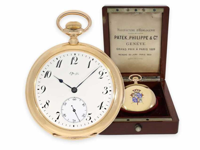 Pocket watch: unique Patek Philippe pocket watch with enamelled coat of arms, and a minute repeater, sold to Tiffany in 1901, with Patek Philippe original box and master excerpt from the book - photo 1
