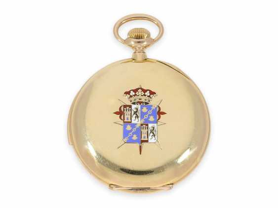 Pocket watch: unique Patek Philippe pocket watch with enamelled coat of arms, and a minute repeater, sold to Tiffany in 1901, with Patek Philippe original box and master excerpt from the book - photo 5