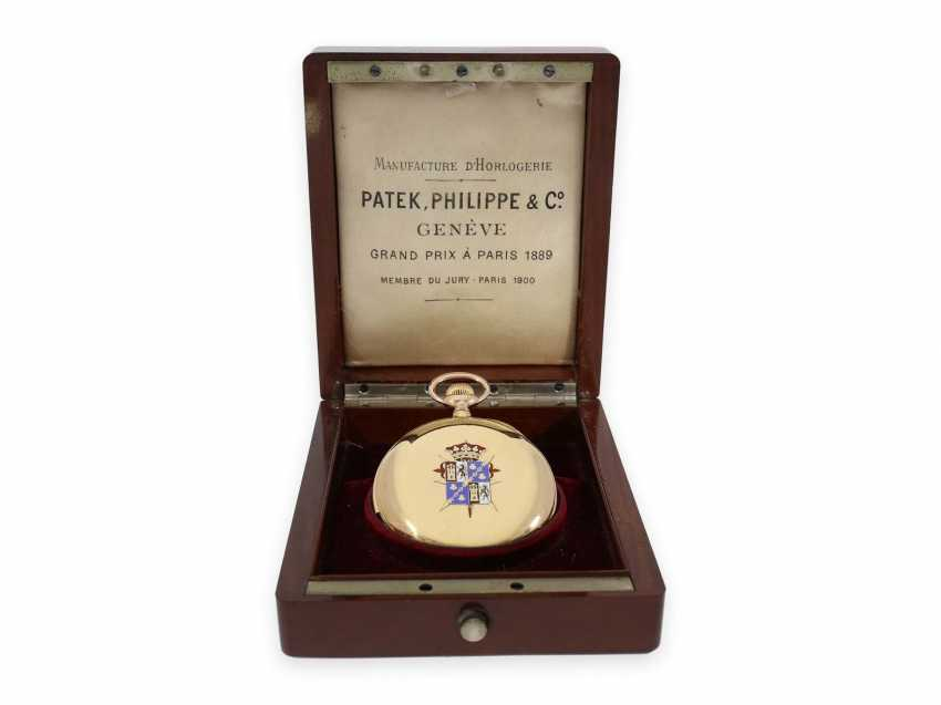 Pocket watch: unique Patek Philippe pocket watch with enamelled coat of arms, and a minute repeater, sold to Tiffany in 1901, with Patek Philippe original box and master excerpt from the book - photo 6