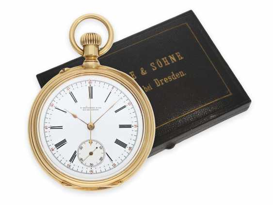 """Pocket watch: extremely rare early A. Lange & Söhne """"Krüssmann Chronograph"""" quality 1A with original box and stud book, the so-called Dead-Seconds Chronograph, No. 25449, Glashütte 1887 - photo 1"""