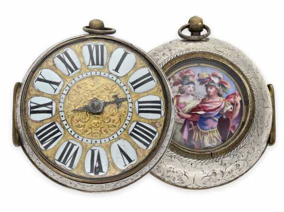 Pocket watch: early and extremely rare Oignon with Central Elevator and enamel painting, the Royal watchmaker Turet (Thuret) a Paris, CA. 1690 - photo 1
