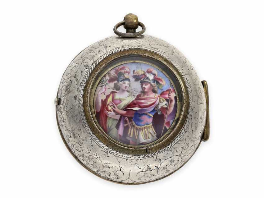Pocket watch: early and extremely rare Oignon with Central Elevator and enamel painting, the Royal watchmaker Turet (Thuret) a Paris, CA. 1690 - photo 2