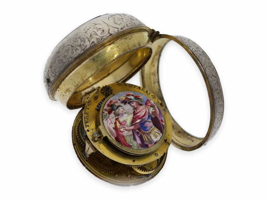 Pocket watch: early and extremely rare Oignon with Central Elevator and enamel painting, the Royal watchmaker Turet (Thuret) a Paris, CA. 1690 - photo 3