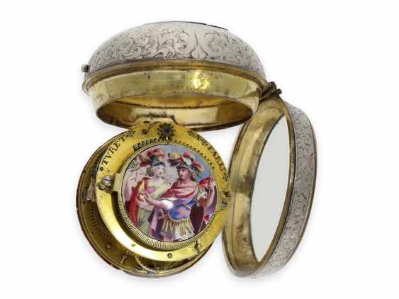 Pocket watch: early and extremely rare Oignon with Central Elevator and enamel painting, the Royal watchmaker Turet (Thuret) a Paris, CA. 1690 - photo 4