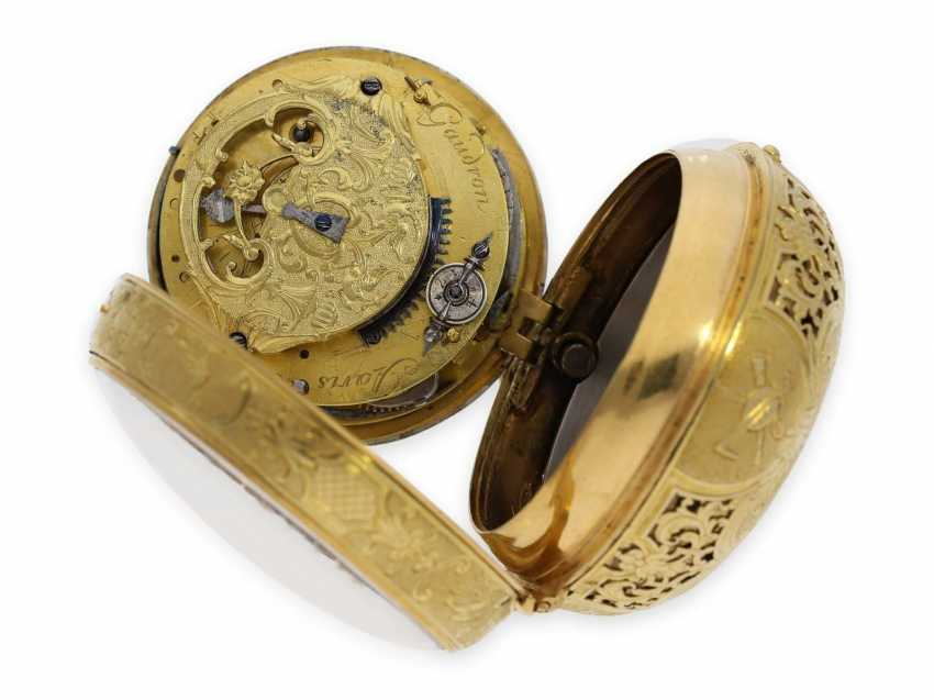 Pocket watch: rarity, one of less than 10 well-known Louis XIV Oignons with a gold case and a repeater, the Royal watchmaker, Gaudron, Paris, CA. 1700 - photo 6