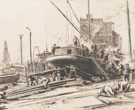 "ARTIST/19./20. Century, ""Mannheim, Shipyard"", - photo 1"
