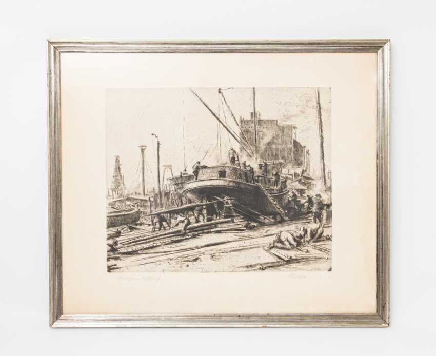 "ARTIST/19./20. Century, ""Mannheim, Shipyard"", - photo 2"