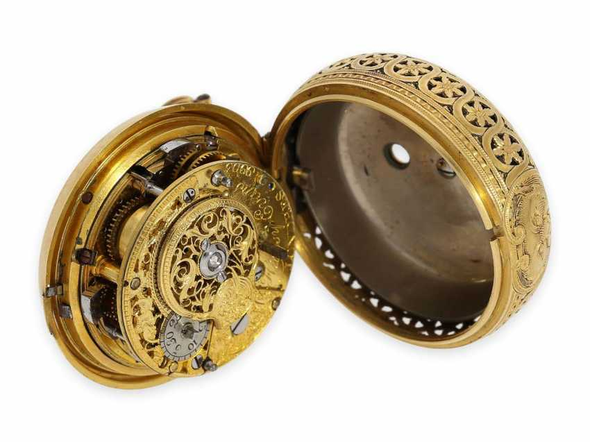 Pocket watch: exquisite, English 22K double case Gold/enamel Spindeluhr with Repetition, Higgs & Evans, No. 9905, Londres, CA. 1780 - photo 7