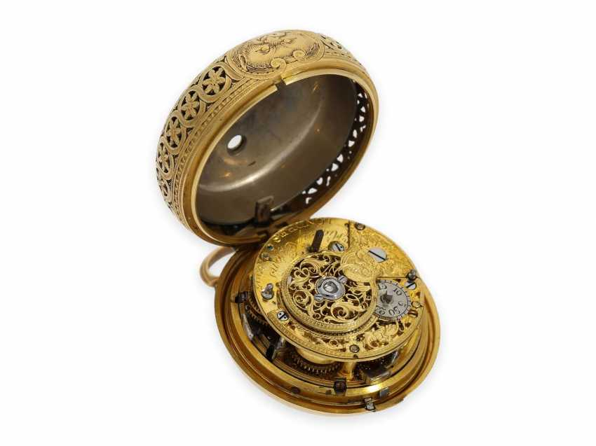 Pocket watch: exquisite, English 22K double case Gold/enamel Spindeluhr with Repetition, Higgs & Evans, No. 9905, Londres, CA. 1780 - photo 9